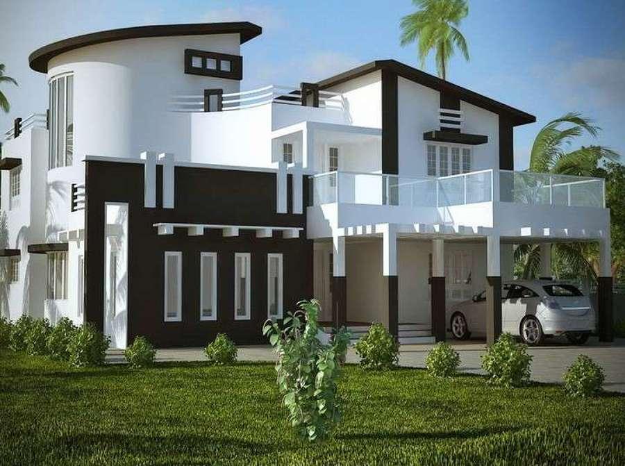 Bianco e marrone per un risultato moderno ed elegante with - Pittura esterna casa ...