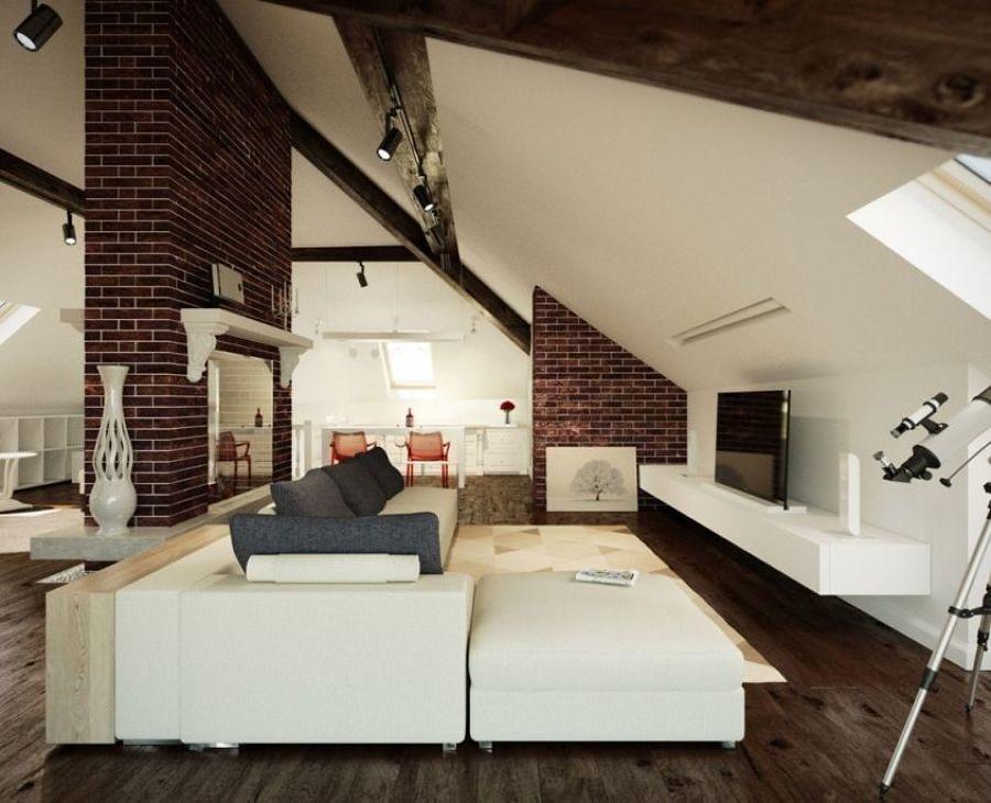 Mansarda con pareti bianche