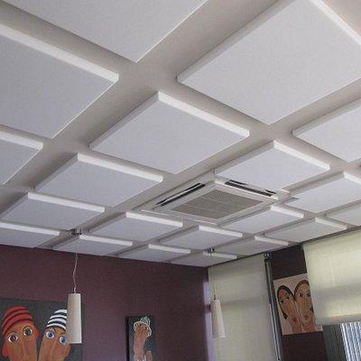 Pannelli acustici a soffitto in tessuto