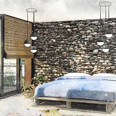 Parquet e pietra naturale in camera da letto