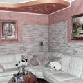 abbassamento in cartongesso con decorazione parete e posa pietre