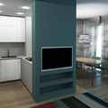 cucina con parete divisoria