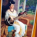 DIPINTO INDIANO Donna con sitar
