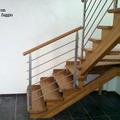 Scala in legno + Ringhiera acciaio INOX