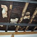 Solaio di copertura in legno di castagno consolidato con travi di legno lamellare e putrelle post-sisma lasciate a vista