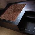 supporto vasca in wengè trattato ad olio con inserti in alluminio