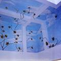 Trompe l'oeil: cielo con tralci e foglie (realizzato dalla De.co di Davide Lorrai)