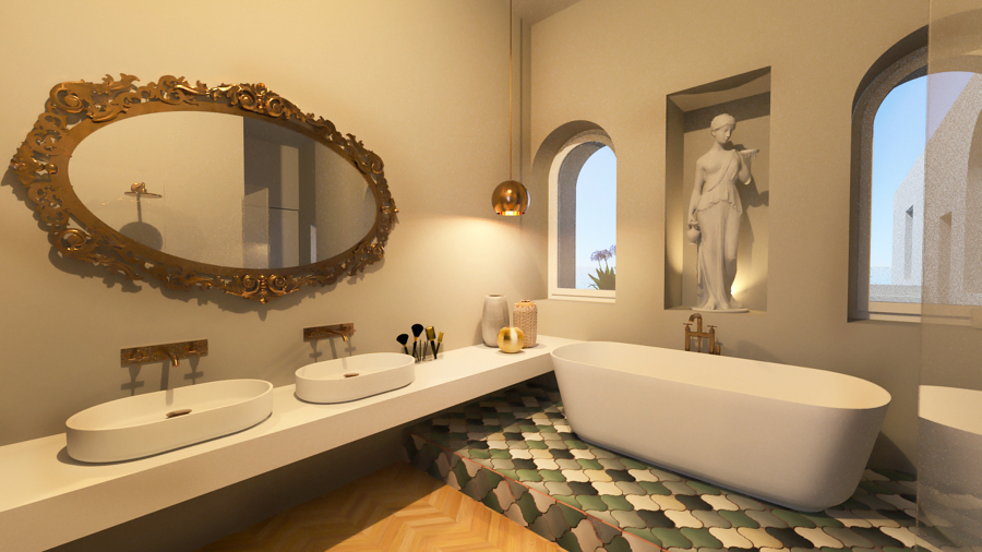 bagno lusso in villa mediterranea
