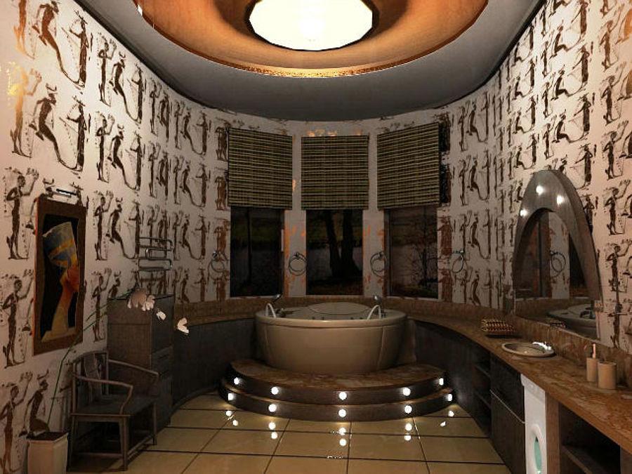 Foto bagno in simil stile egiziano con vasca jacuzzi - Bagno stile etnico ...