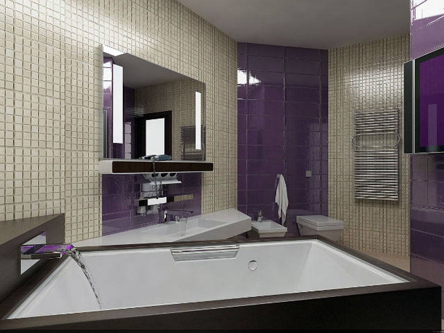 Foto bagno padronale in simil mosaico con vasca idro for Bagno padronale moderno