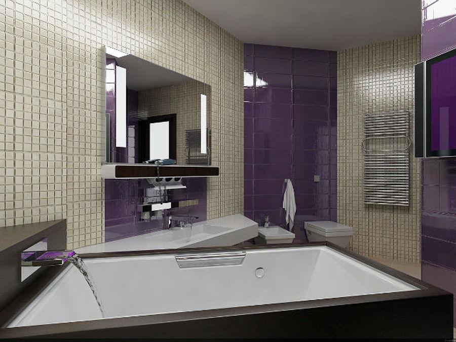 Foto bagno padronale in simil mosaico con vasca idro - Bagno moderno con vasca ...