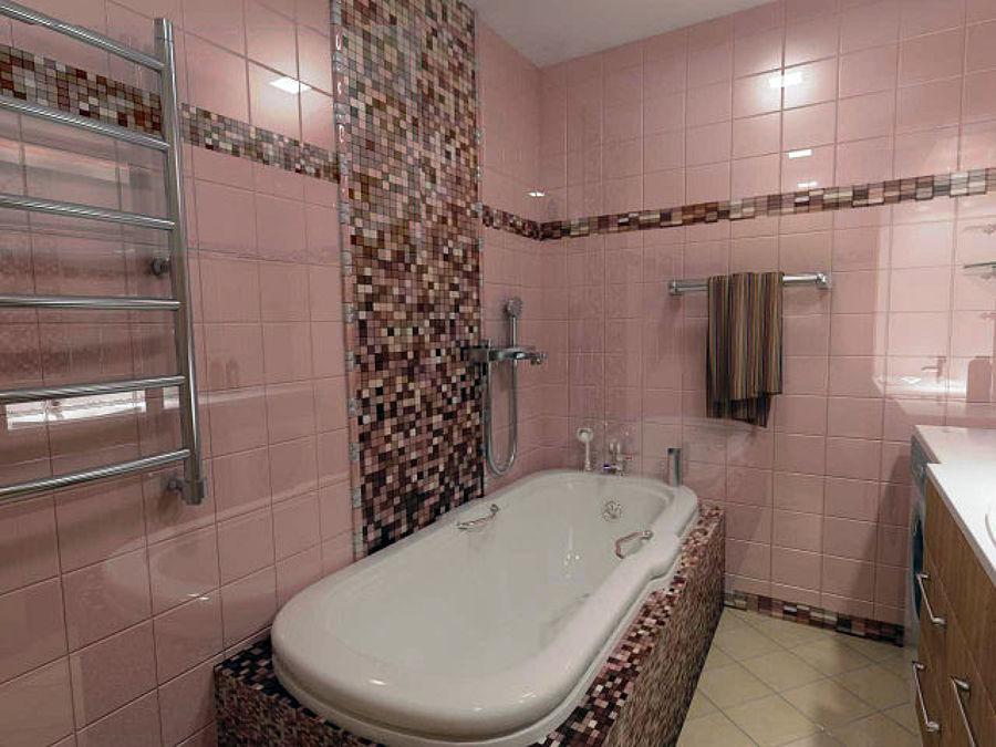 Foto bagno padronale realizzato con alzata completamente perimetrale con colonna e rivestimento for Foto rivestimenti bagno