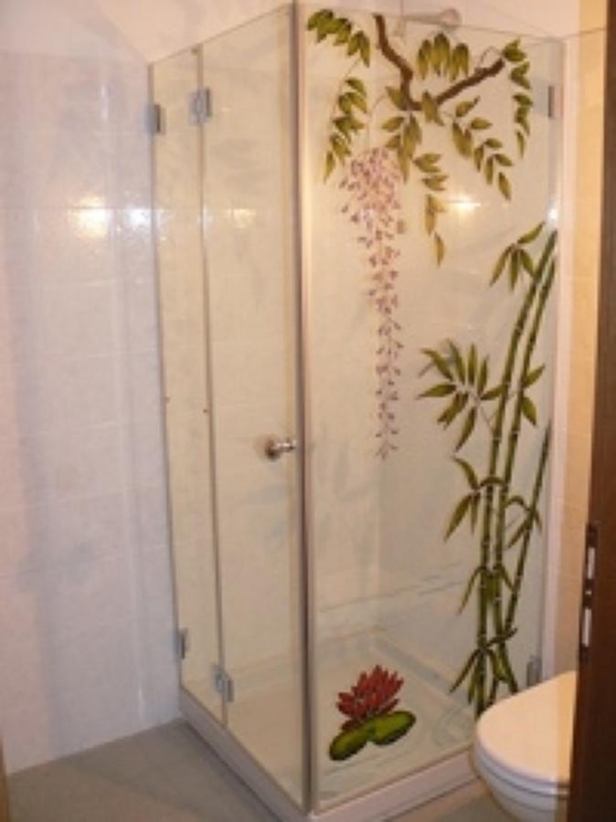 Foto box doccia vetro cristallo decorato di vetrivart - Vetri per doccia ...