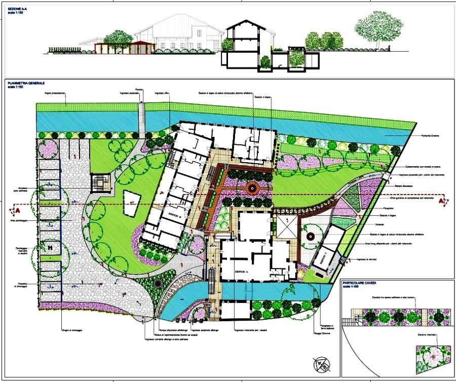 foto planimetria generale giardino di complesso wellness