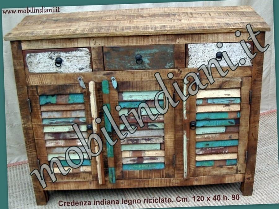 Foto credenza a persiana legno riciclato di mobili etnici for Mobili etnici roma