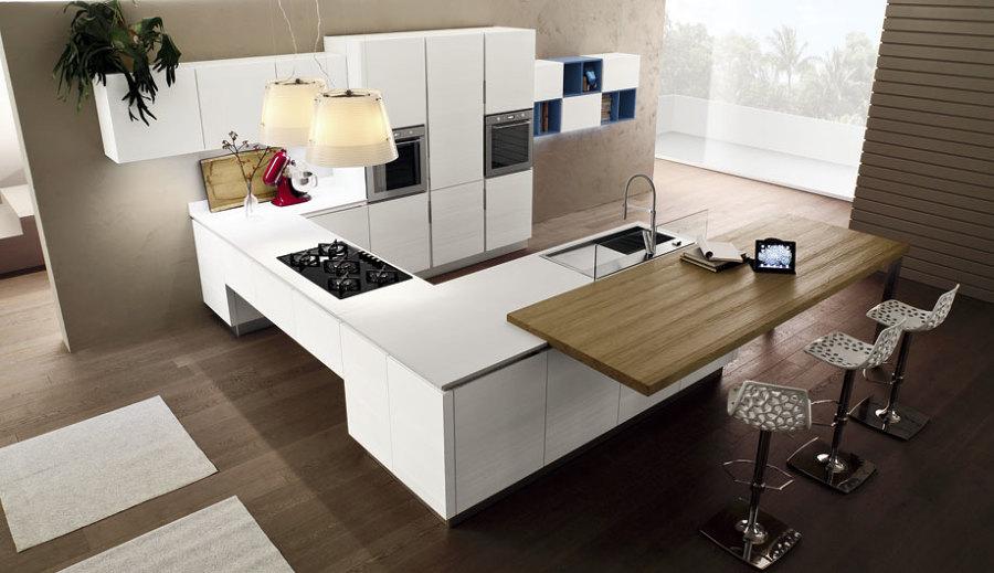 Foto cucina componibile su misura moderna con piano in quarzite de cucine company srl 122639 for Piano snack cucina