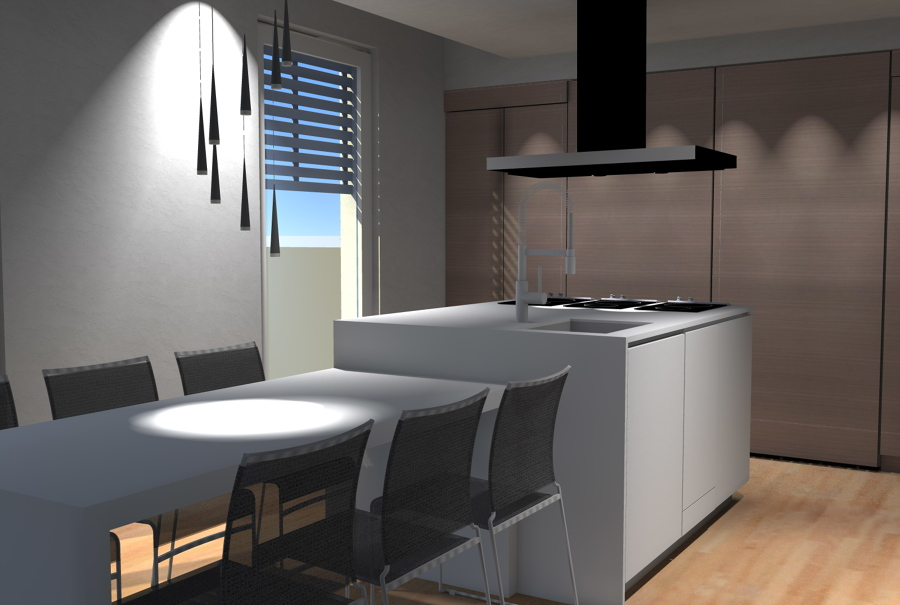 ... di cucina di raffinato design con banco cottura e zona pranzo ad isola