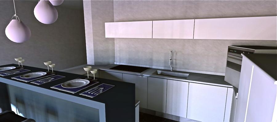 Cucina Con Design Ecosostenibile : Foto cucina minimal con isola bar ...