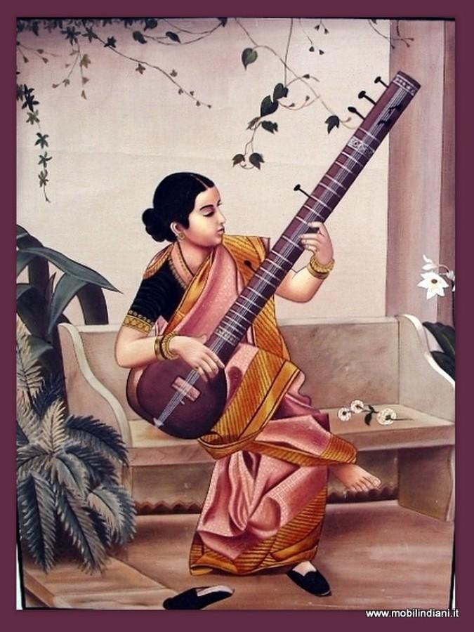 Dipinto etnico Fanciulla con Sitar