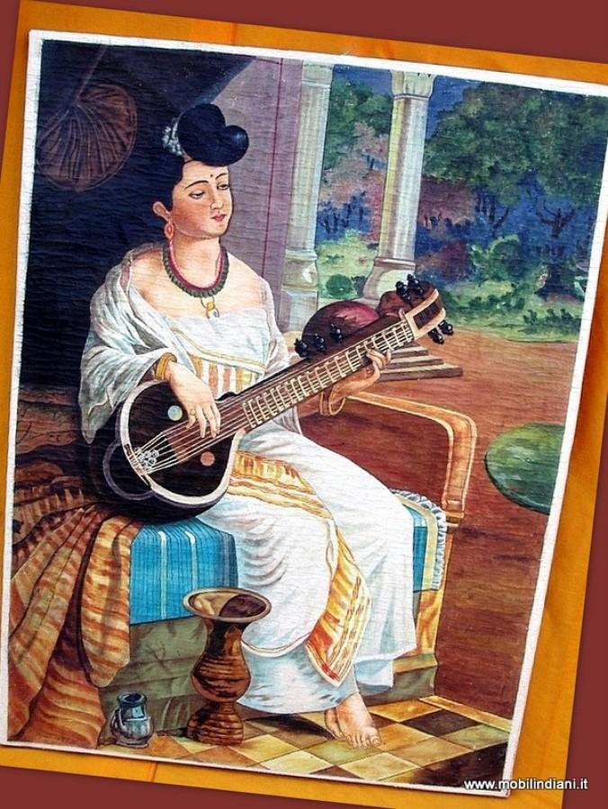 Foto dipinto indiano donna con sitar di mobili etnici for Piani di progettazione domestica indiana con foto