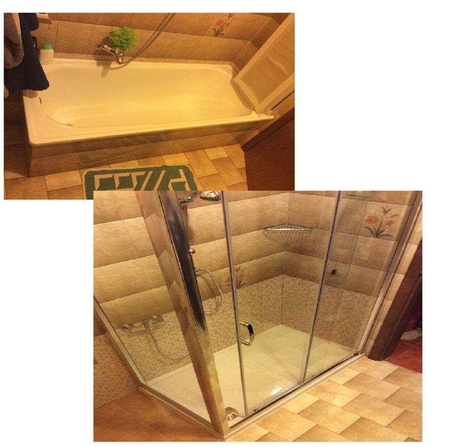 vasca in doccia con guadagno spazio