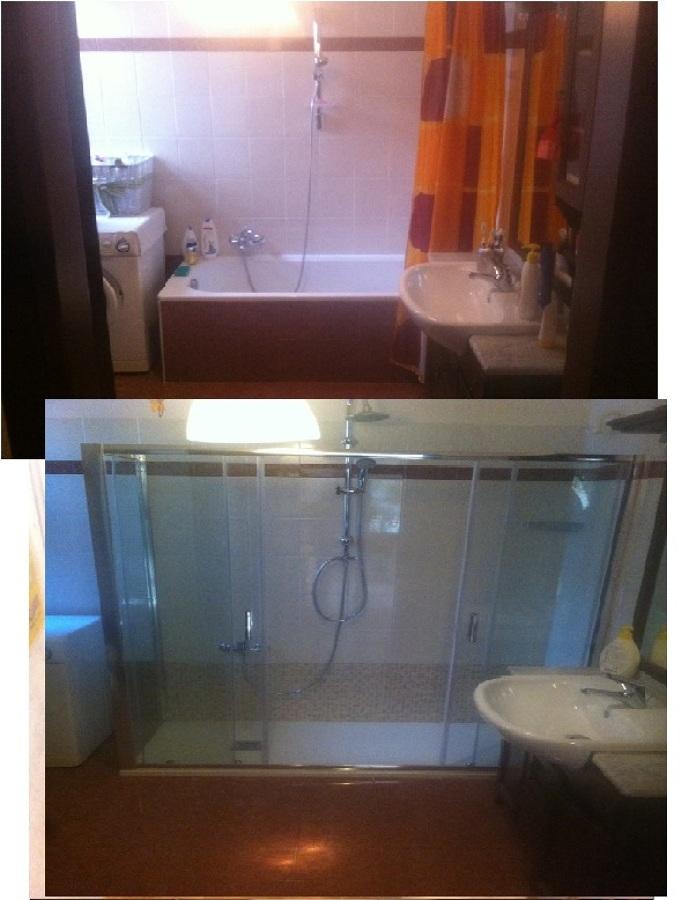 vasca in doccia con piatto in ardesia