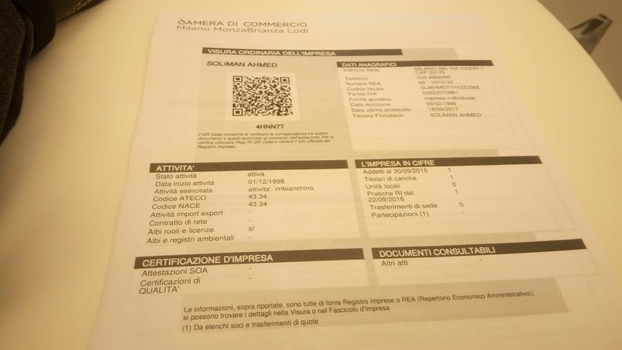 Foto: Certificato Aziendale di Imbianchino Soliman Ahmed #562560 ...
