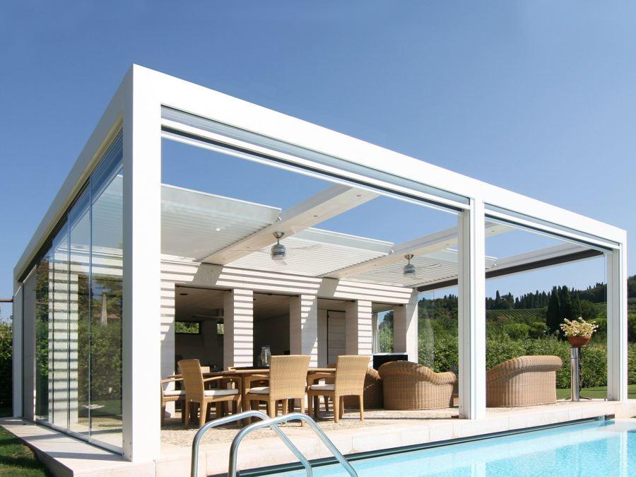 veranda in alluminio e telo ad impacchettamento