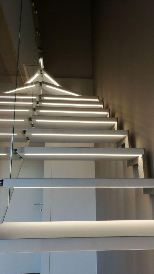 Scala VETRO e Acciaio con LED