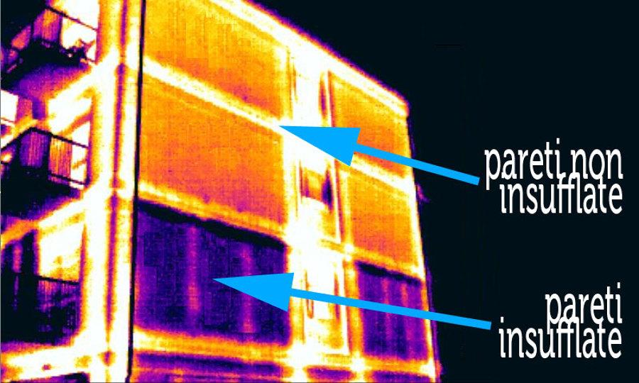 Termografia parete con e senza insufflaggio