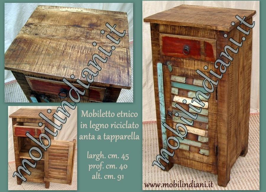 mobiletto a persiana teak riciclato. Mobiletto in legno teak riciclato ...