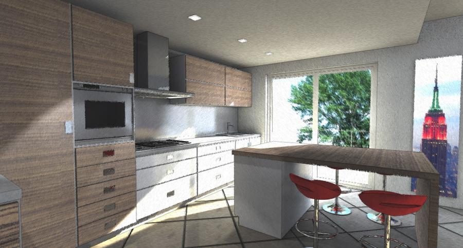 Foto: Studio Cucina con Isola Snack di Architetto Tomaso Clivio ...