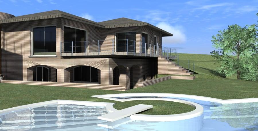 Foto rendering di studio villa con piscina di architetto - Progetto villa con piscina ...