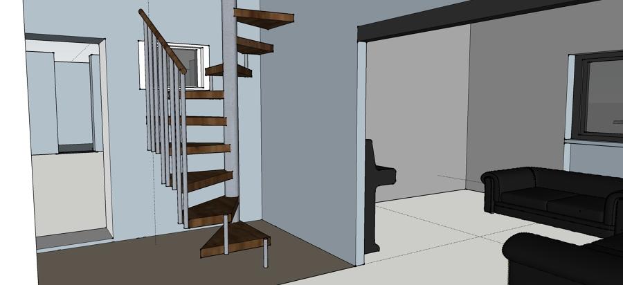 Foto render ingombro scala a chiocciola di spazio erre for Sala di piani quadrati a chiocciola