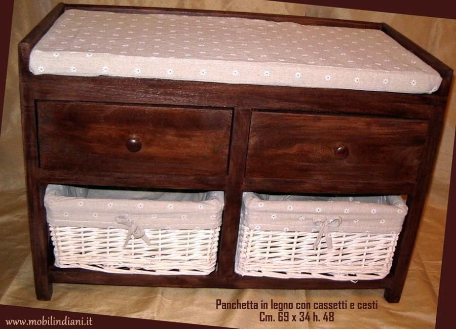 Foto panca in legno con cassetti e cesti di mobili etnici 101241 habitissimo - Mobili etnici prato ...