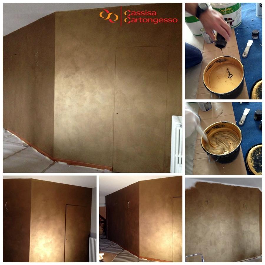 Foto parete decorata con effetto oro colore di antonio for Parete decorata moderna