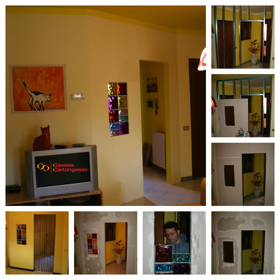 Neat parete divisoria cartongesso e vetro jj01 pineglen - Parete in cartongesso con porta ...