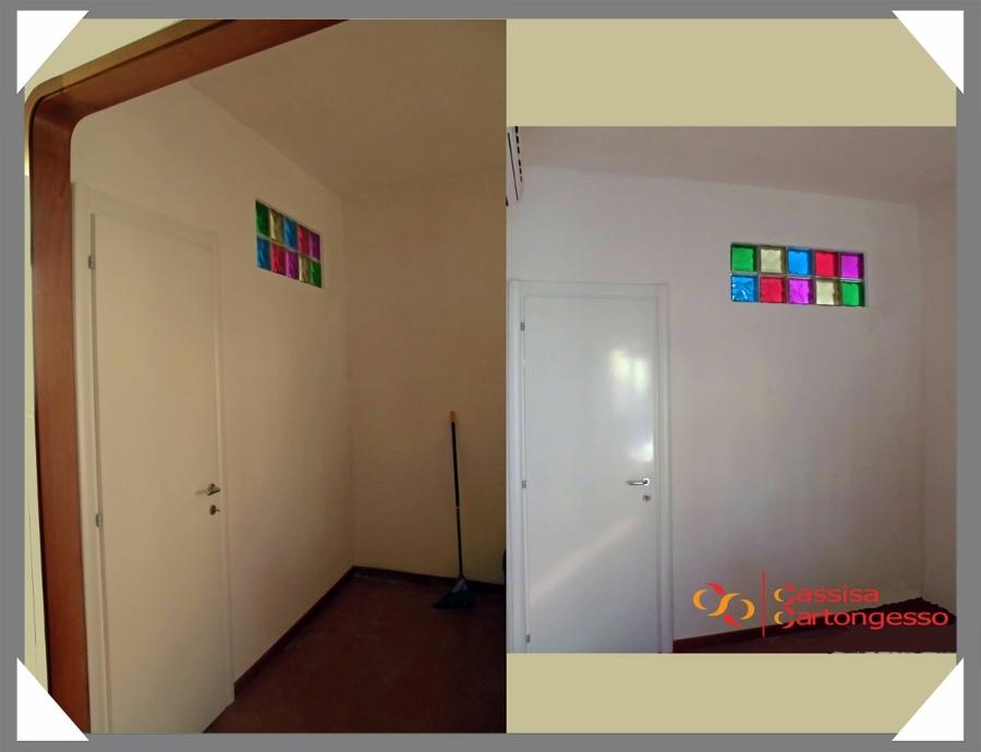 Parete Divisoria In Cartongesso Con Porta Scorrevole : Parete cartongesso con porta soggiorno e zona pranzo a