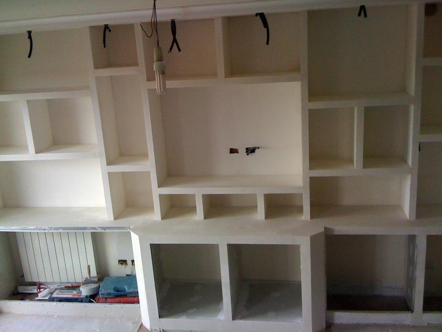 Simple cheap pareti attrezzate cartongesso idee libreria a muro in cartongesso moderno mosaico - Pareti mobili in cartongesso ...