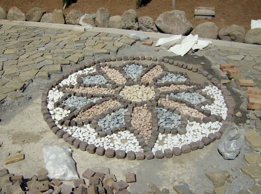 Pietra pavimento disegno : pavimento + disegno in ciottoli vari colori