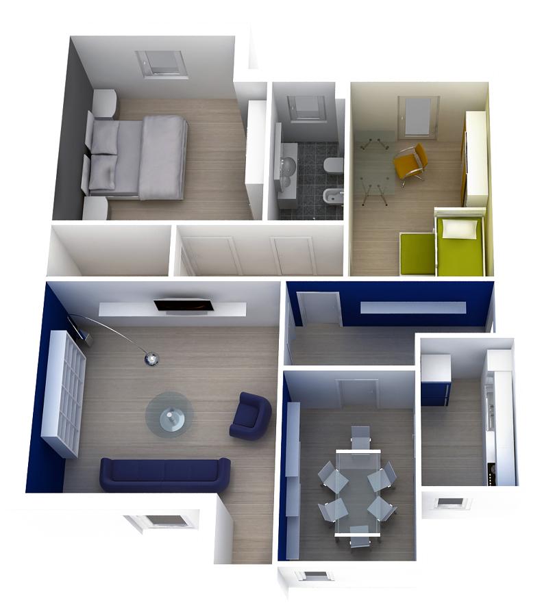 Foto planimetria 3d con arredi di all pro 52187 - Planimetria casa moderna ...