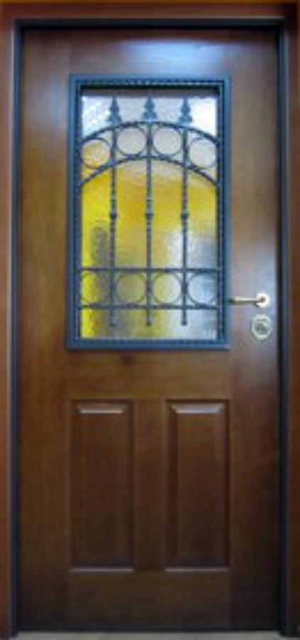 Porta bliindata con vetro blindato e grata
