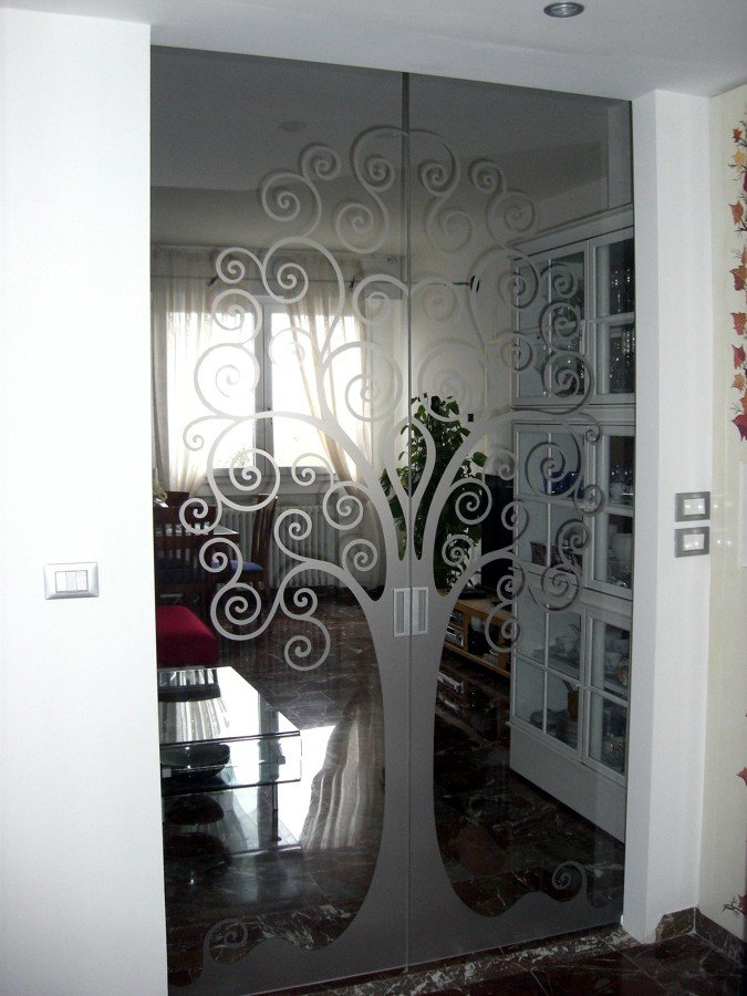 Foto porte vetro personalizzate de mazzoli porte vetro - Porte scorrevoli vetro esterno muro ...