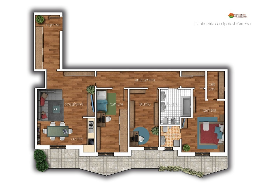 Foto progetto di ristrutturazione e arredo appartamento for Esempi di ristrutturazione appartamento
