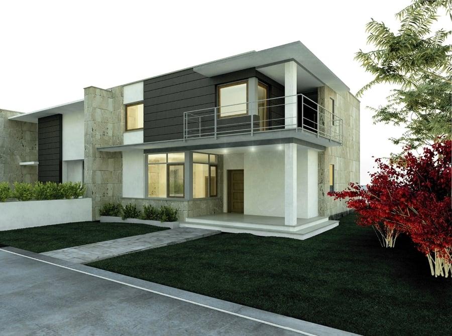 Foto progetto per una serie di case a schiera di studio for Ville bifamiliari moderne