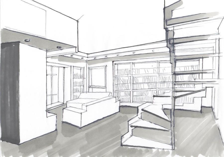Studio della disposizione zona soggiorno