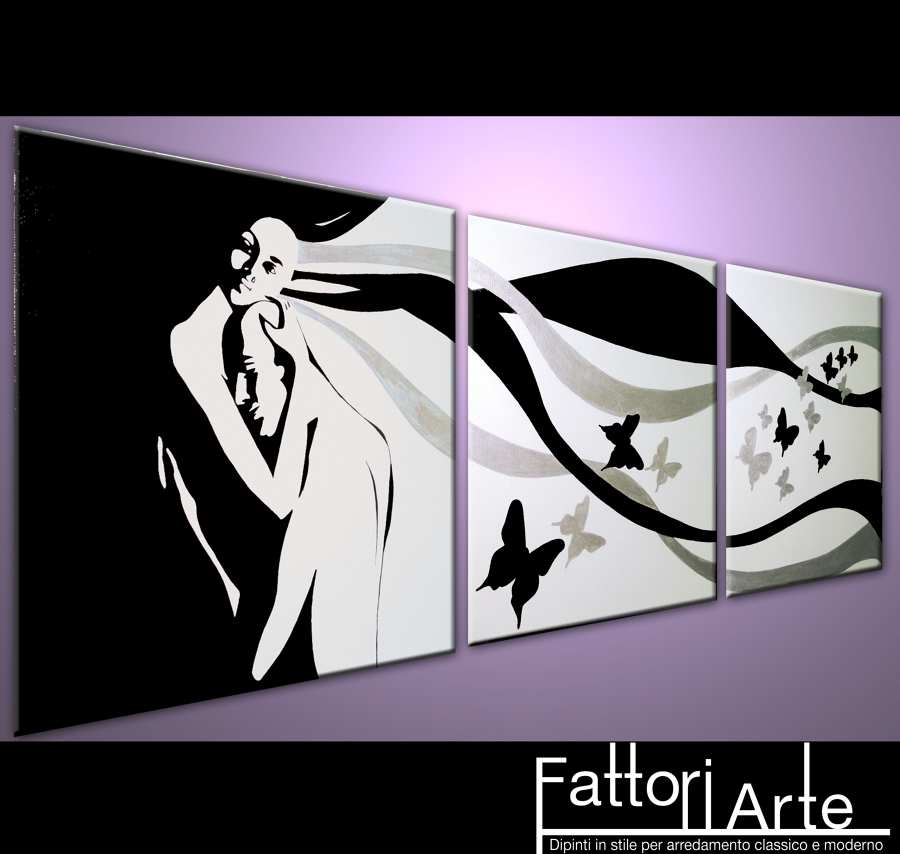 Foto: quadri moderni abbraccio bianco nero e argento di ...