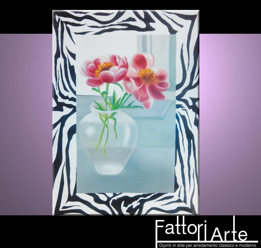 Foto quadri moderni fiori con cornice zebrata de for Quadri foto