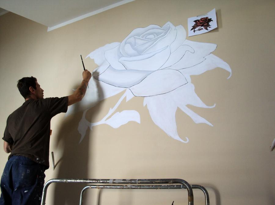 Foto rosa dipinta su muro di creastile decorazioni 50910 - Decorazioni muro ...