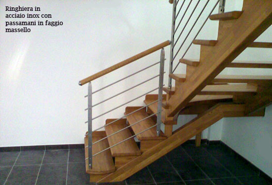 Foto scala in legno ringhiera acciaio inox di artiscala - Immagini scale in legno ...